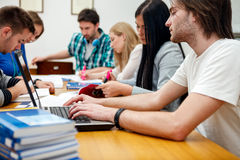 University student learning. In classroom Stock Photo