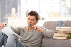University student learning at home Stock Photos