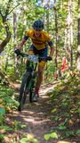 University student in mountain bike race stock photos