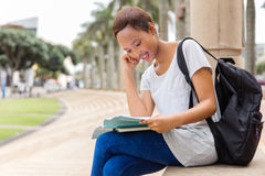 University student studying. Beautiful african american university student studying Stock Images