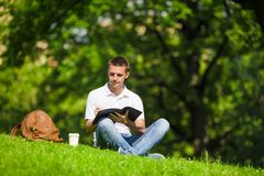 University student studying for exams outdoors in Royalty Free Stock Photography
