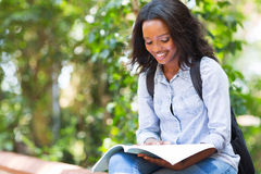 University student studying. Smart african american university student studying Stock Image