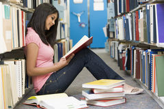 University student working in library. Female student sitting on library floor surrounded by books royalty free stock photo