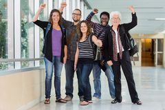 University Students Cheering with Professor Royalty Free Stock Photo