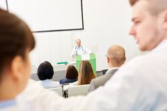 University students in medicine apprenticeship. Lecture with physician royalty free stock image