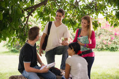 University students meeting and preparing test Stock Photography