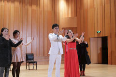 University students performing drama stock image