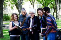 University students with professor Royalty Free Stock Photo