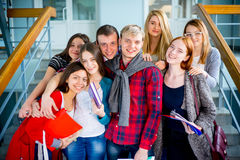 University students on a stairway. Group of university students meets on a stairway Royalty Free Stock Photo