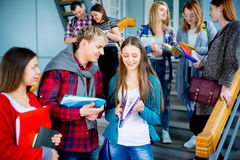 University students on a stairway. Group of university students meets on a stairway Stock Images