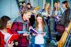 University students on a stairway. Group of university students meets on a stairway Royalty Free Stock Image