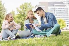 University students studying on campus Royalty Free Stock Image