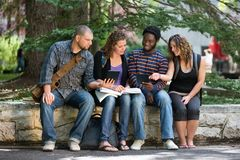 University Students Using Digital Tablet On Campus. Multiethnic university students using digital tablet while studying on parapet at campus Stock Photos