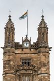 University of Sydney top of clock tower, Australia. Sydney, Australia - March 25, 2017: Closeup of top of historic brown stone clock tower at University of Stock Image