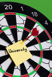 University. Target for university on dart with arrow Royalty Free Stock Photography