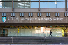 University of Technology Sydney building in Ultimo. Sydney, Australia - April 25, 2016: University of Technology Sydney building in Ultimo with person walking royalty free stock photos