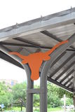 University of Texas bus stop with longhorn. UT longhorn bus stop burnt orange student transpiration Royalty Free Stock Image