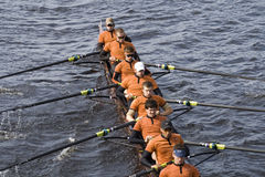 The University of Texas Men's Rowing Team. BOSTON - OCTOBER 19:  The University of Texas Men's Rowing Team race in the In the Head of Charles Regatta, on October Royalty Free Stock Photography