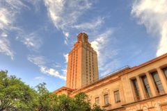 University of Texas Tower. Or UT Tower, in Austin, Texas against blue skies Stock Photo