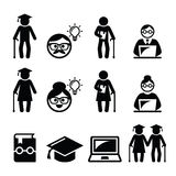 University of the Third Age, Senior education icons set Stock Photos