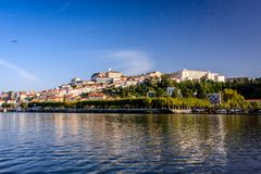 The university town Coimbra, Portugal. From the Parque do Choupalinho view on Coimbra with the oldest university of Portugal on the top of the mountain Mondego Stock Images