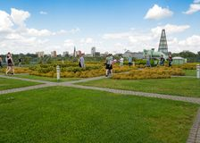 University of Warsaw library with beautiful rooftop gardens. Warsaw, Poland - July, 2017: University of Warsaw library with beautiful rooftop gardens royalty free stock photography