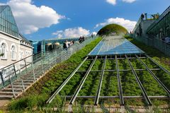 The University of Warsaw Library Rooftop Garden in Warsaw, Poland. Warsaw, Poland - May 1, 2019: The University of Warsaw Library Rooftop Garden, designed by the royalty free stock photos