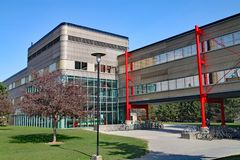 Modern university architecture, University of Waterloo, Canada. The University of Waterloo, highly regarded for technical subjects such as computer science royalty free stock images