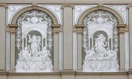 University Wien. Artwork on backwall of University building in Vienna (Wien), Austria Stock Photography