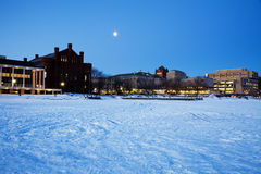 University of Wisconsin - seen from frozen Lake Mendota. Historic Buildings - University of Wisconsin - seen from frozen Lake Mendota stock photos