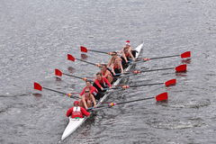 University of Wisconsin Women's Crew races in the Head of Charles Regatta Women's Master Eights Stock Photo