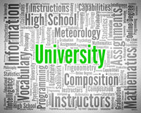 University Word Indicates Varsity Academy And Varsities Stock Photos