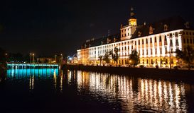 University of Wroclaw. At night. Poland Royalty Free Stock Photos