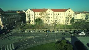 University of Zagreb - aerial. ZAGREB, CROATIA - DECEMBER 20, 2014: Aerial shot of the University building and Marshal Tito square in the city center stock video