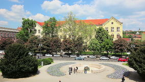 University of Zagreb. ZAGREB, CROATIA - May 5 2012: Theatre Square with fountain in front of the University of Zagreb main building. Fountain was made by world stock video footage
