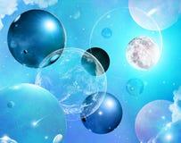 Universo azul abstracto de la burbuja Fotografía de archivo libre de regalías
