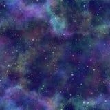Universo colorido abstracto, cielo estrellado de la noche de la nebulosa, espacio exterior multicolor, fondo galáctico de la text stock de ilustración