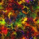 Universo colorido abstracto, cielo estrellado de la noche de la nebulosa, espacio exterior multicolor, fondo galáctico de la text ilustración del vector