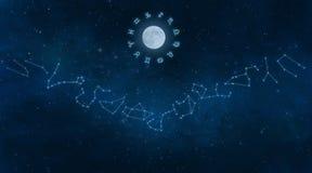 Universo con le costellazioni dello zodiaco royalty illustrazione gratis