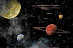 Universo con varios planetas ilustración del vector