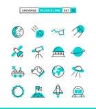Universo, cuerpos celestes, lanzamiento de cohete, astronomía y más stock de ilustración
