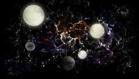 Universo de luas distantes Fotografia de Stock Royalty Free