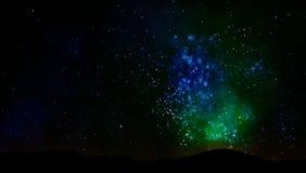 Universo del cielo notturno e paesaggio delle stelle illustrazione di stock