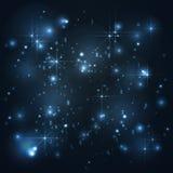 Universo, galaxia con las estrellas en el fondo azul, abstracto Foto de archivo