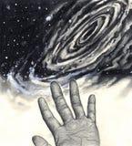 Universo, mano, raggiungente per le stelle Fotografie Stock Libere da Diritti