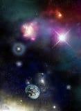 Universo - starfield e nebulose illustrazione di stock