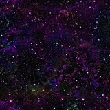 Universo viola scuro astratto Cielo stellato di notte della nebulosa Spazio cosmico blu Fondo galattico di struttura Vettore senz Fotografia Stock Libera da Diritti