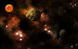 Universum ausgetrocknet mit Sonne Lizenzfreies Stockbild
