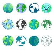 Universum för värld för jordplanetvektor globalt och världslig uppsättning för världsomspännande jordisk universell jordklotillus stock illustrationer