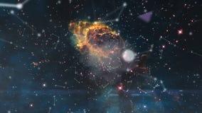 Universum füllte mit Sternen, Nebelfleck und Galaxie Nebelfleck und Galaxien im Raum Milchstraße und rosa Licht an den Bergen Stockfotografie